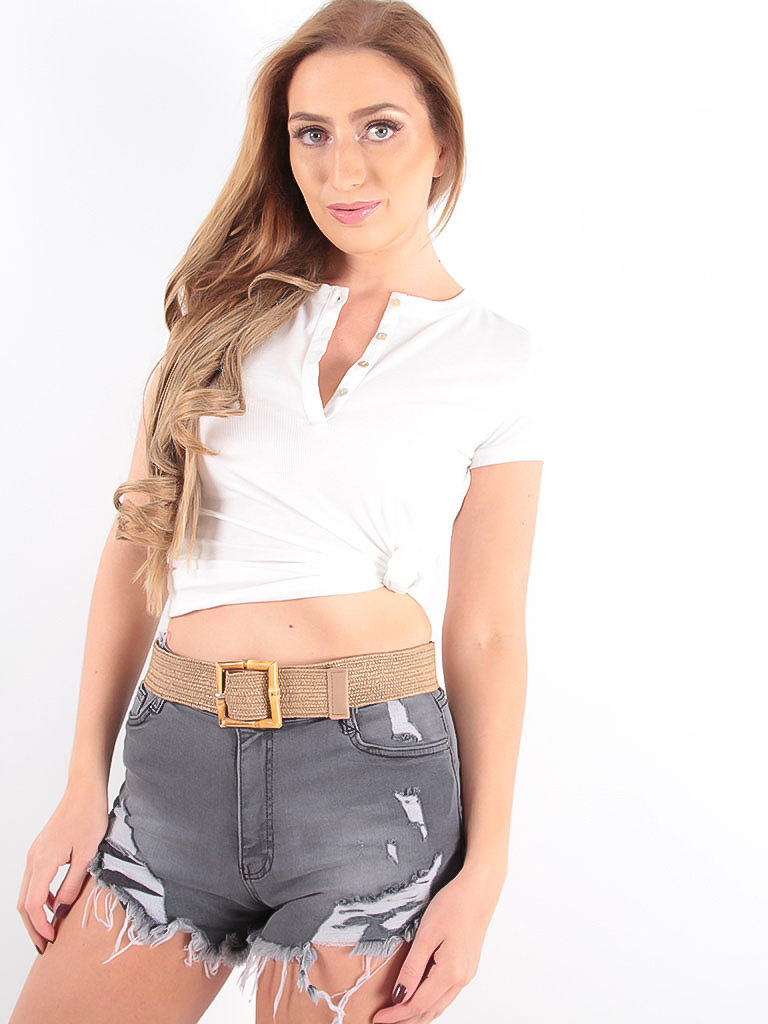 LADYLIKE FASHION Stretch Belt With Reed Buckle Brown