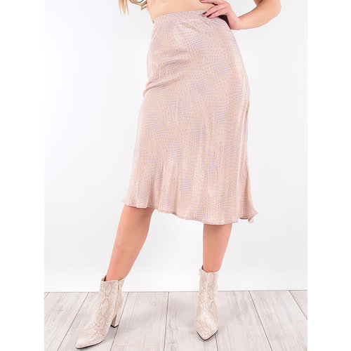 LADYLIKE FASHION Polka Dot Midi Skirt Beige