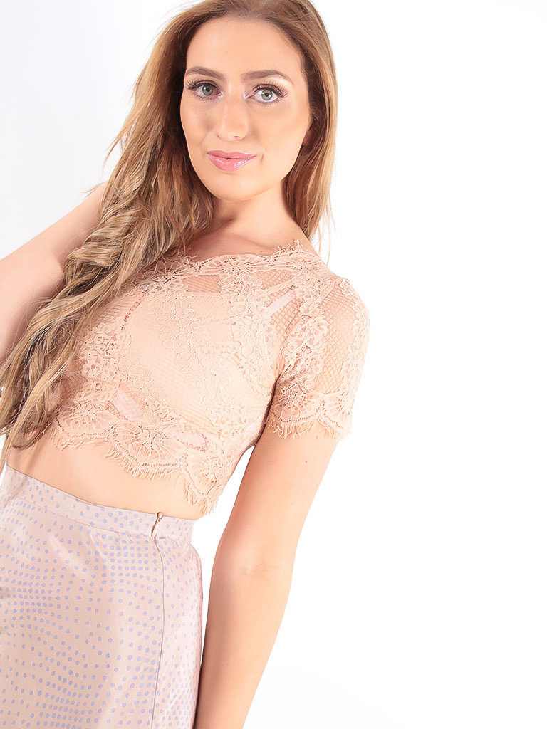 VERA & LUCY Scallop Lace Overlay Crop Top Beige