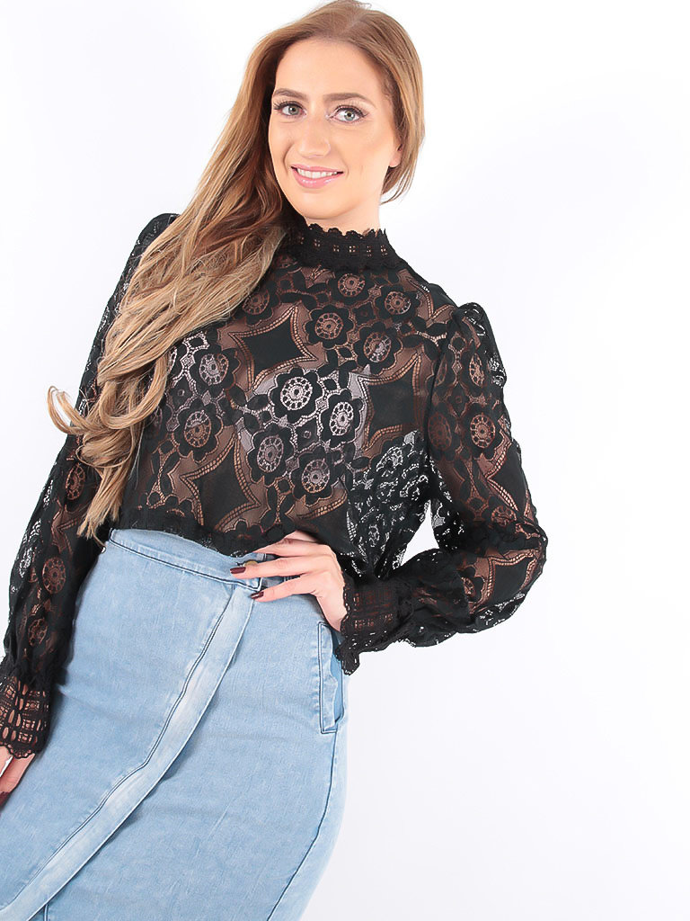 LADYLIKE FASHION Lace Crop Top Puffed Sleeves Black