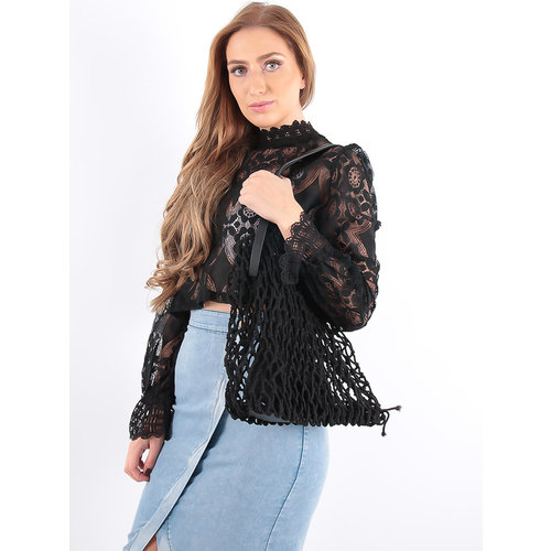 LADYLIKE FASHION Crochet Net Bag in Bag Black