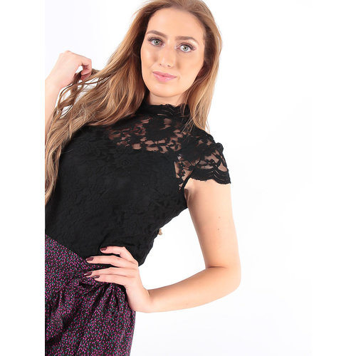 MAY Lace Crop Top Black