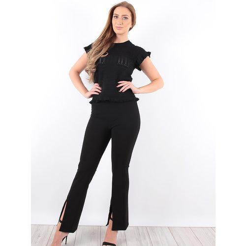 LADYLIKE FASHION High Waist Slit Flare Trousers Black