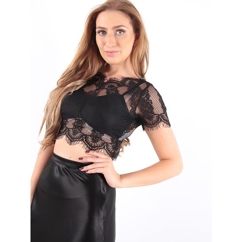 LADYLIKE FASHION Scallop Lace Overlay Crop Top Black