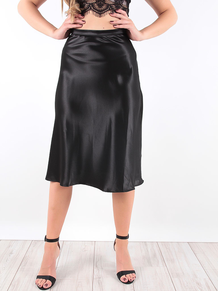 LADYLIKE FASHION Satin Midi Skirts Black