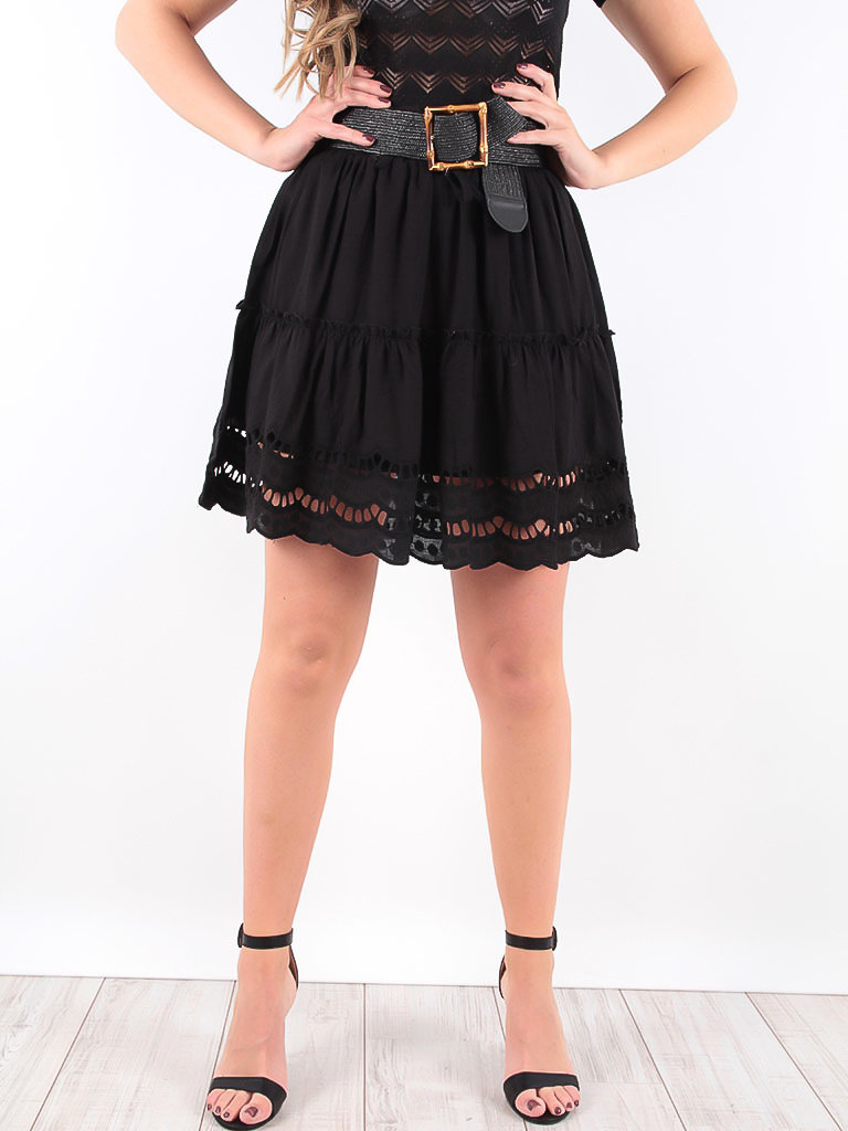 LADYLIKE FASHION Black Broderie Anglaise Skirt