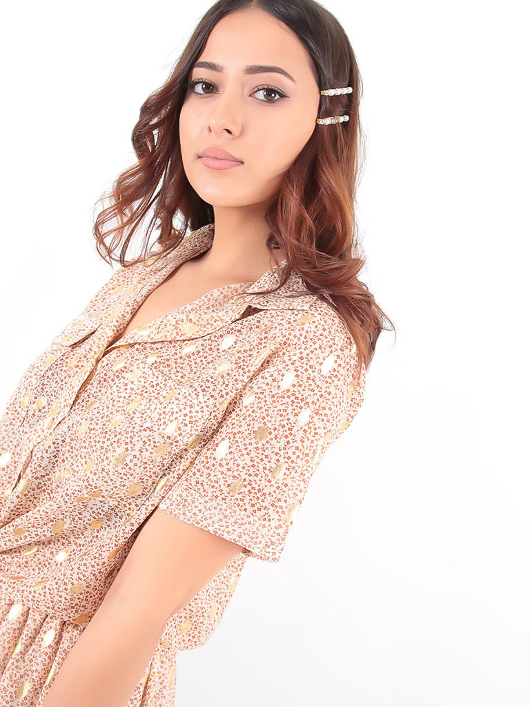 LADYLIKE FASHION Blouse Little Brown Floral Print