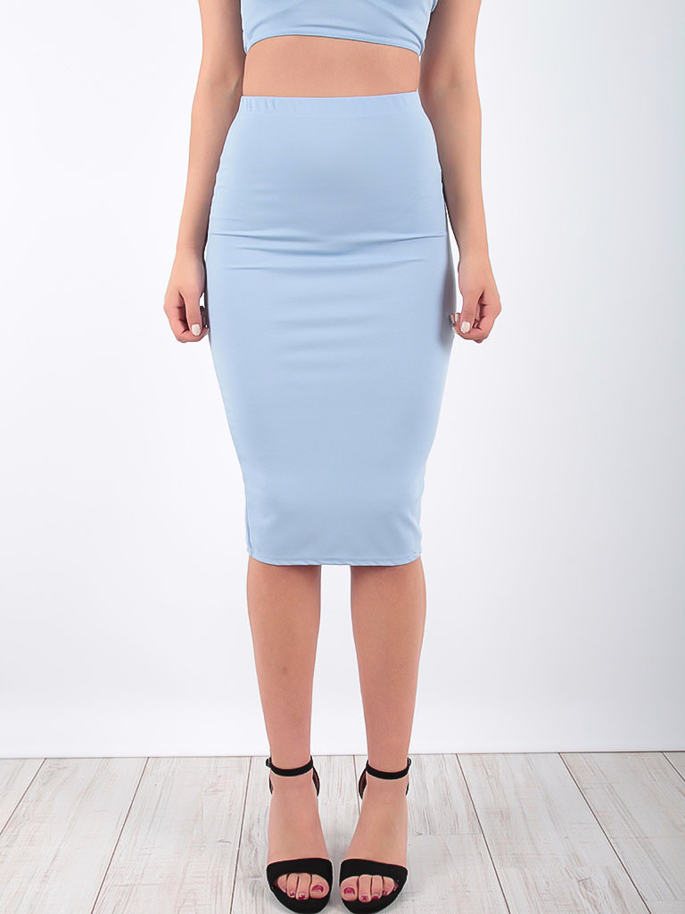LADYLIKE FASHION Midi Skirt Powder Blue