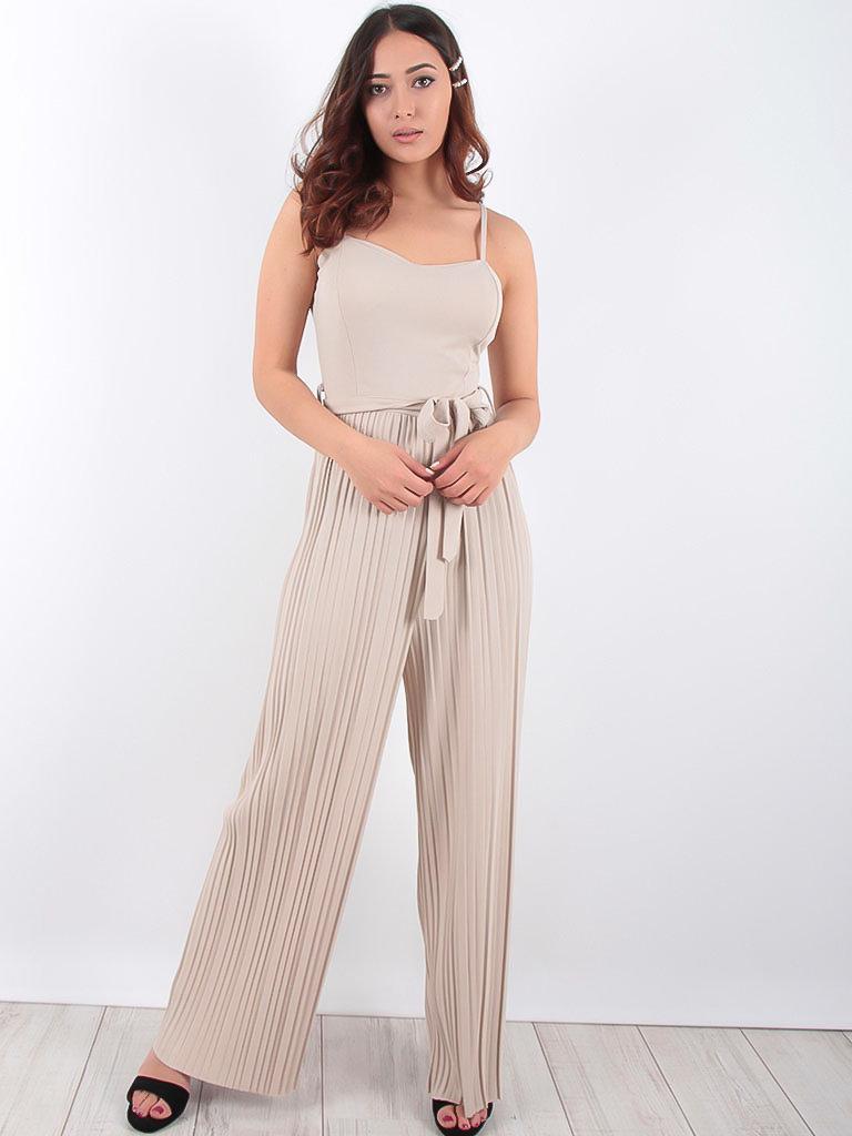 LADYLIKE FASHION Pleat Trousers Belted Jumpsuit Beige