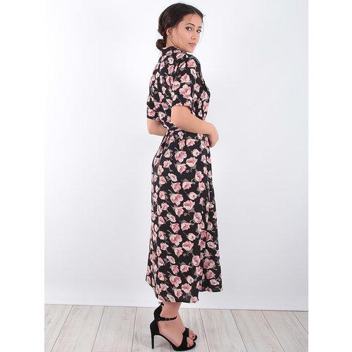 LADYLIKE FASHION Shirt Dress  Black Flower Print Black