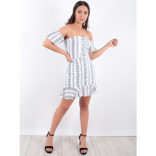 LADYLIKE FASHION Bardot Folk Embroidered Lace Up Detail Frill Hem Mini Dress