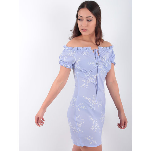 LADYLIKE FASHION Floral Tie Front Frill Sleeve Bardot Dress Lilac