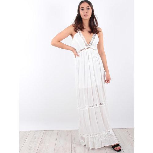 LADYLIKE FASHION Crochet Lace Trim Tiered Maxi Dress
