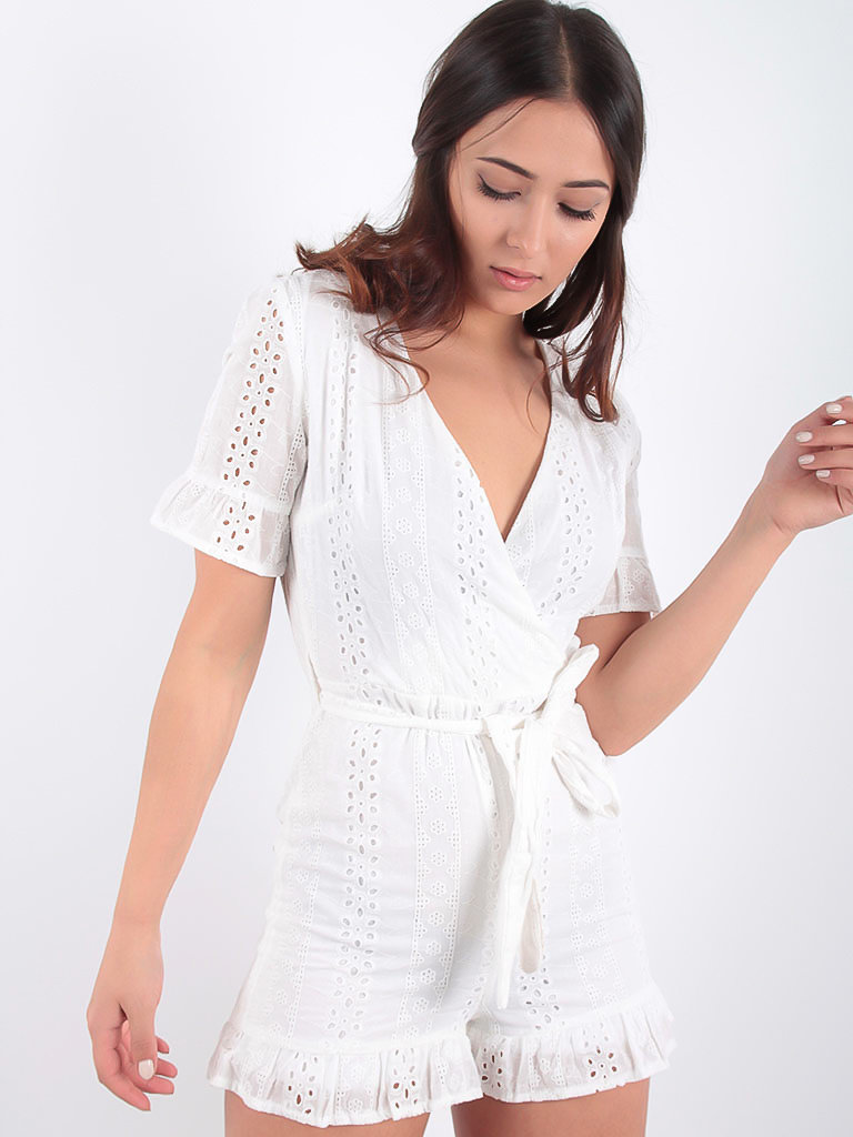 LADYLIKE FASHION Broderie Anglaise Frill Hem Detail Playsuit White
