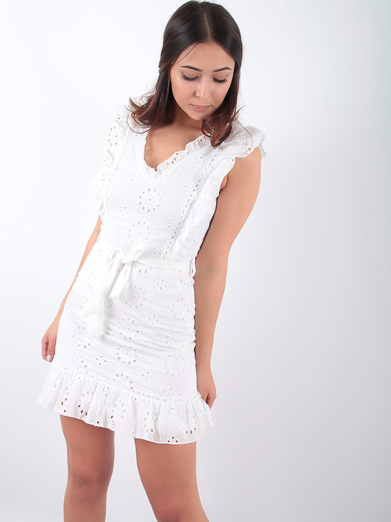 LADYLIKE FASHION Broderie Lace Frill Detail Waist Tie Mini Dress White