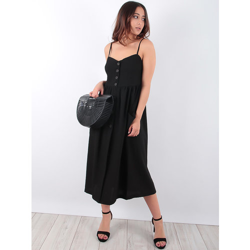 LADYLIKE FASHION Black Button Dress