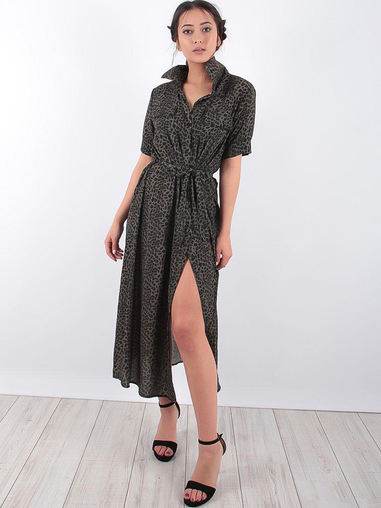 LADYLIKE FASHION Maxi Khaki Leopard Shirt Dress