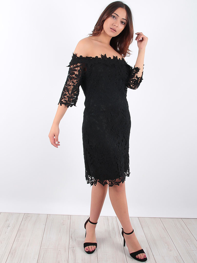 LADYLIKE FASHION Lace Bardot Dress Black