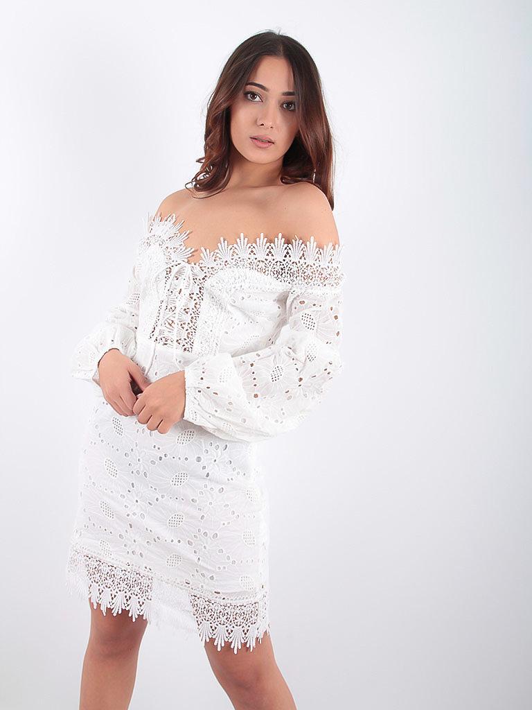 LADYLIKE FASHION Broderie Anglaise Bardot Dress White