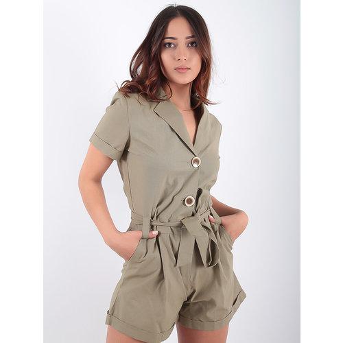 LADYLIKE FASHION Khaki Utility Playsuit Cotton
