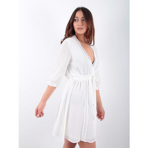 LADYLIKE FASHION White Lace Trim Dress