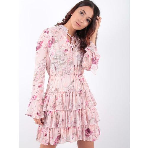 LADYLIKE FASHION Rose Pale Ruffled Flower Print Dress