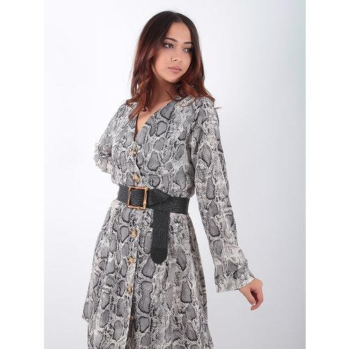 CC FASHION Grey Snake Print Dress