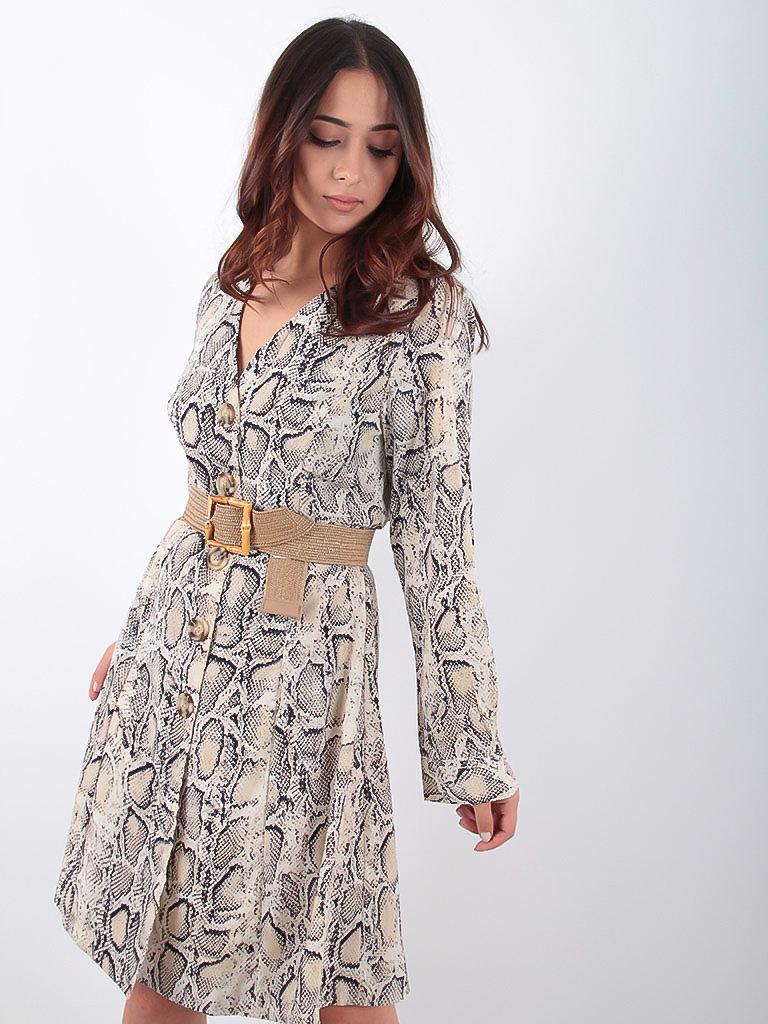 LADYLIKE FASHION Beige Snake Print Dress