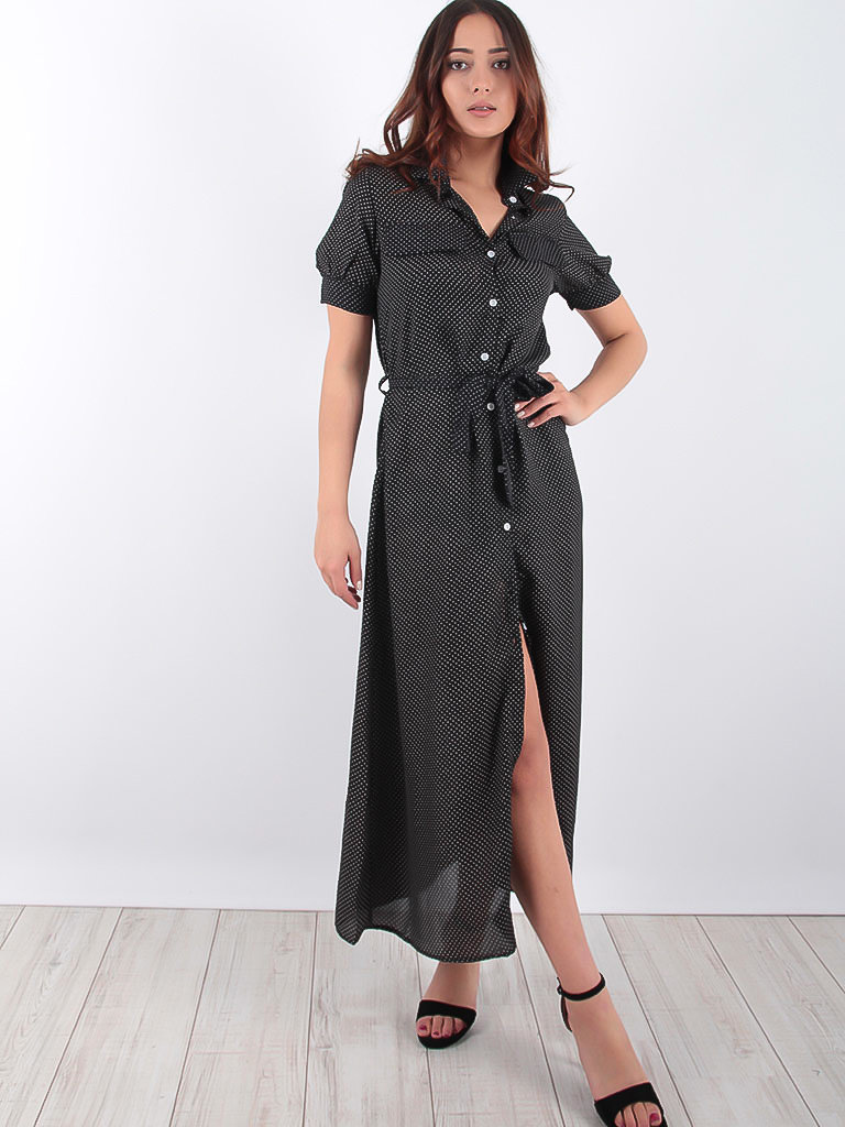 LADYLIKE FASHION Shirt Dress Little Dots Black