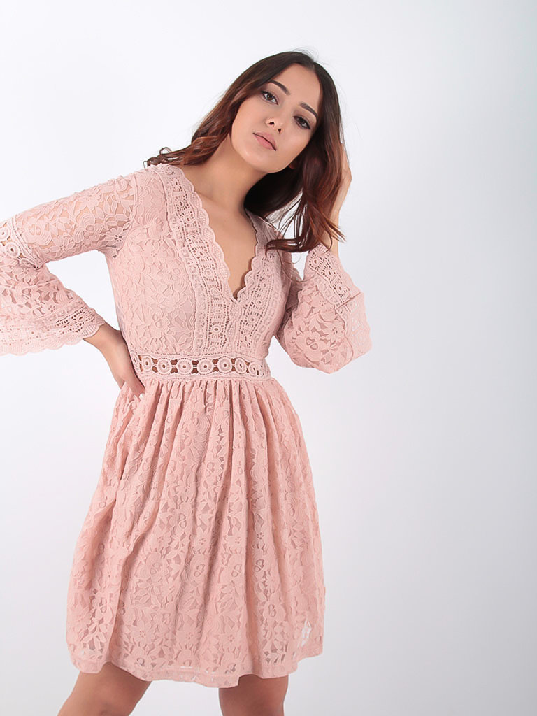 LADYLIKE FASHION Lace V Dress Pink