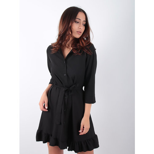 LADYLIKE FASHION Shirt Dress Frill Hem Black