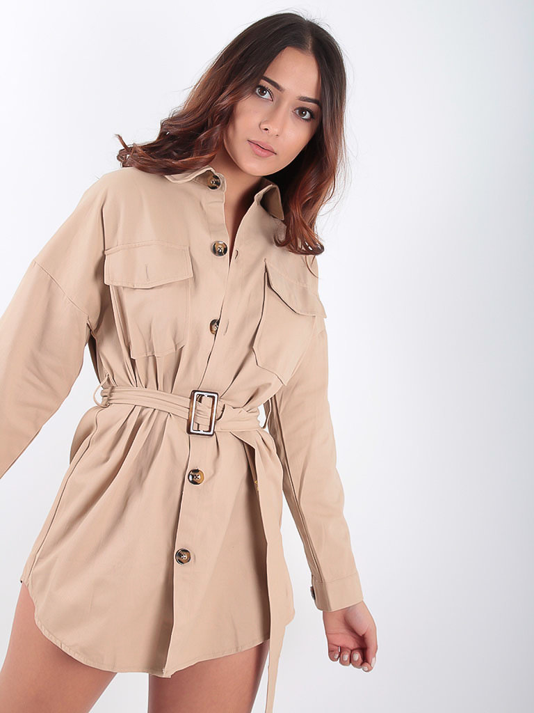 LADYLIKE FASHION Utility Shirt Dress or Jacket Beige