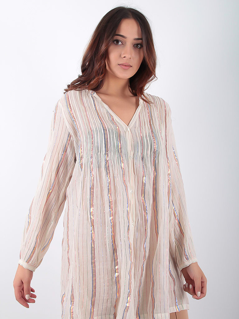 LADYLIKE FASHION Blouse Cotton Multi Colored Stripes Beige