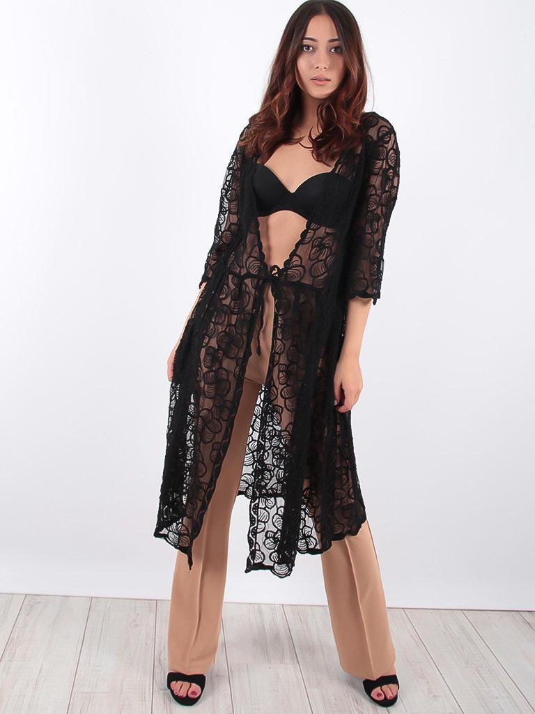 LADYLIKE FASHION Lace Kimono Black