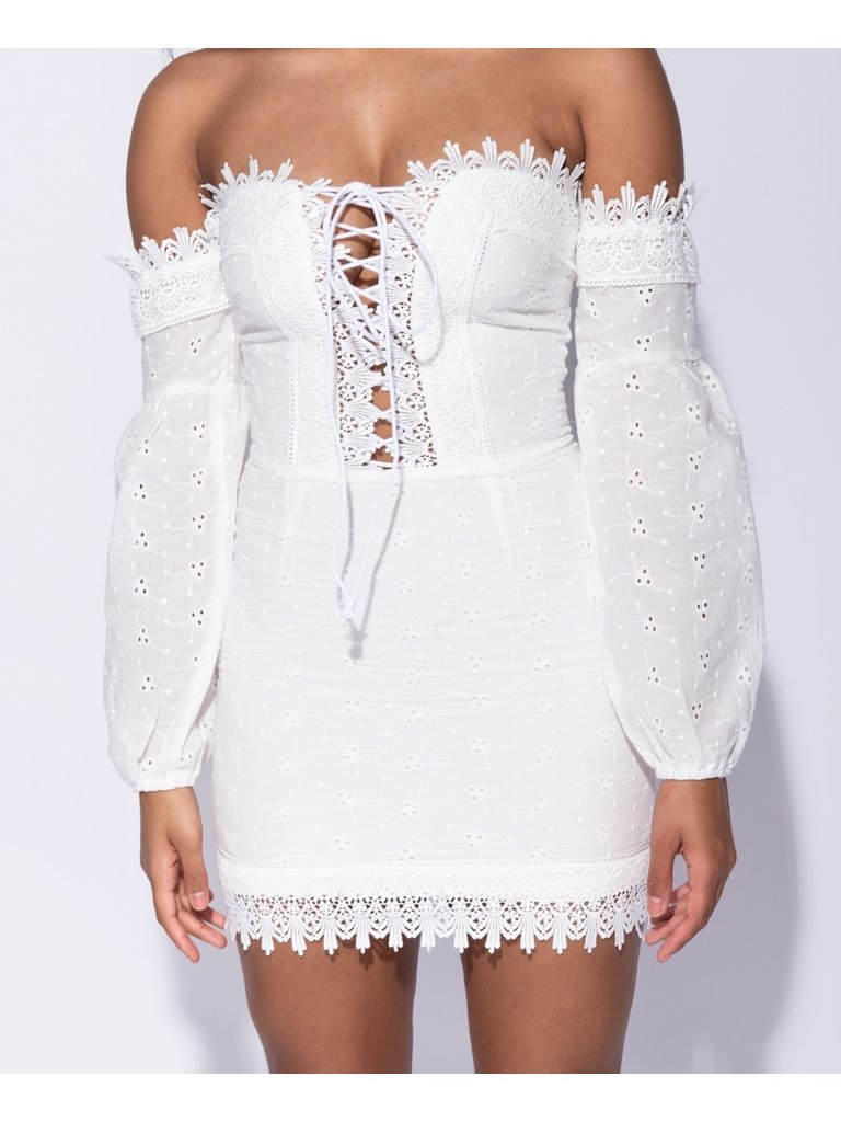 LADYLIKE FASHION Broderie Anglaise Lace Tie Up Front Bardot Dress White
