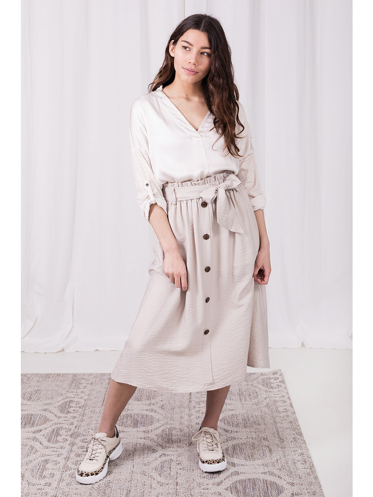 LADYLIKE FASHION Skirt With Buttons Beige