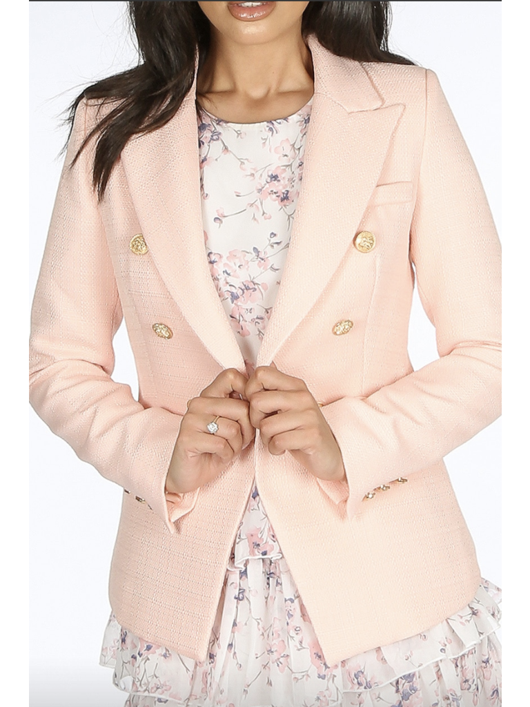 LADYLIKE FASHION Double-Breast Hopsack Blazer Pink