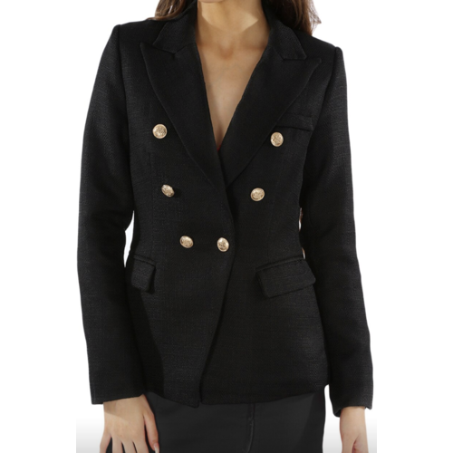 LADYLIKE FASHION Double-Breast Hopsack Blazer Black