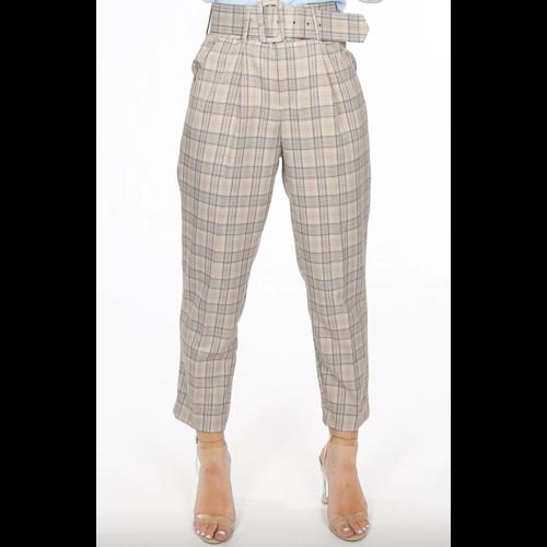LADYLIKE FASHION Glen Plaid Belted Pants Beige