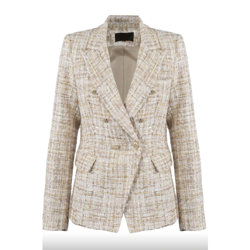 LADYLIKE FASHION Tweed Double Breasted Golden Buttons Blazer Beige