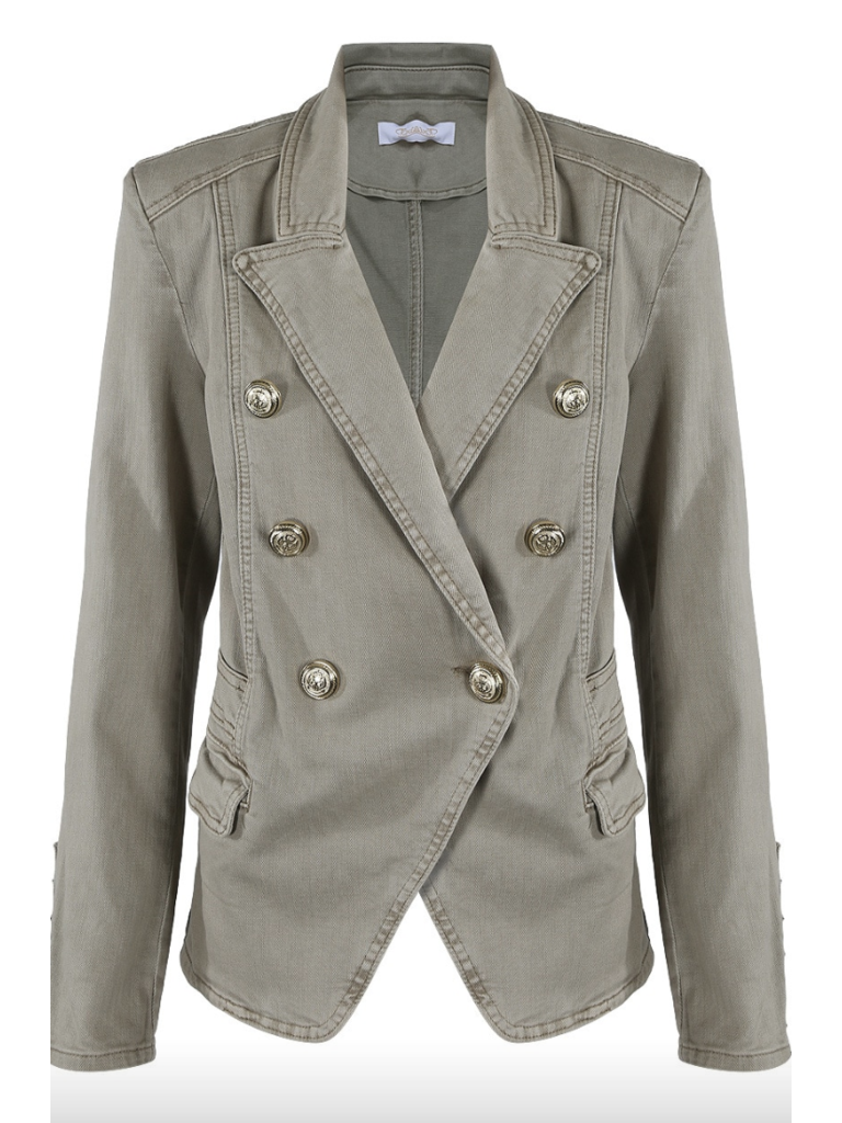 LADYLIKE FASHION Taupe Denim Military Blazer
