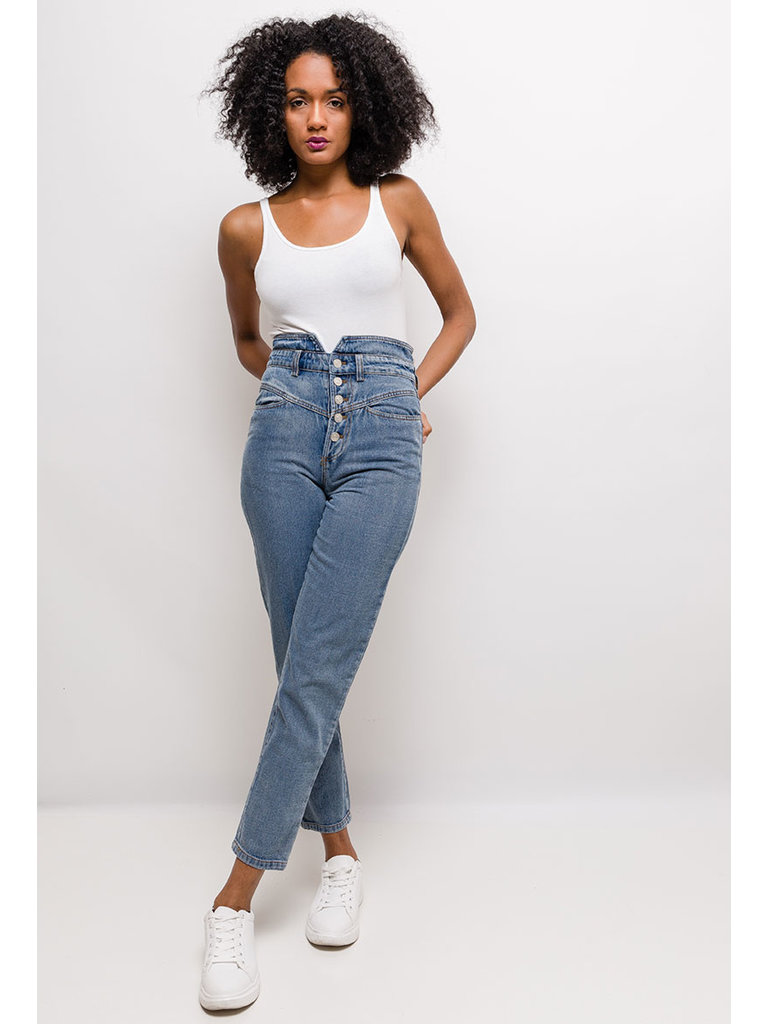 LADYLIKE FASHION Button high waisted jeans