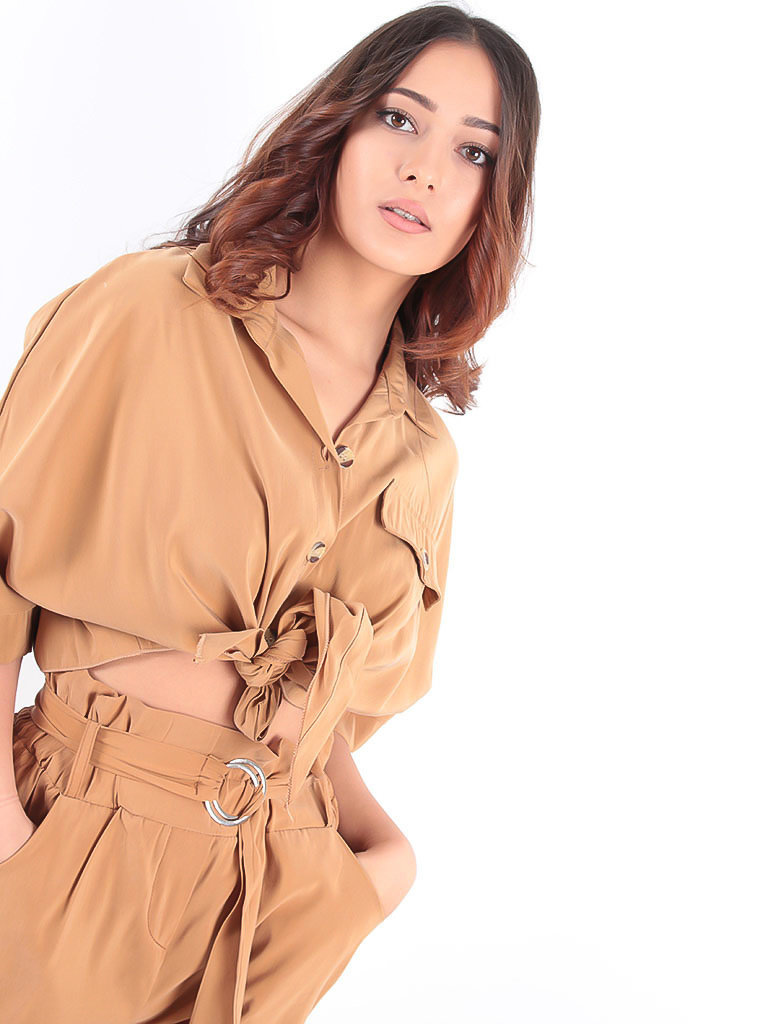 LADYLIKE FASHION Utility Blouse Camel