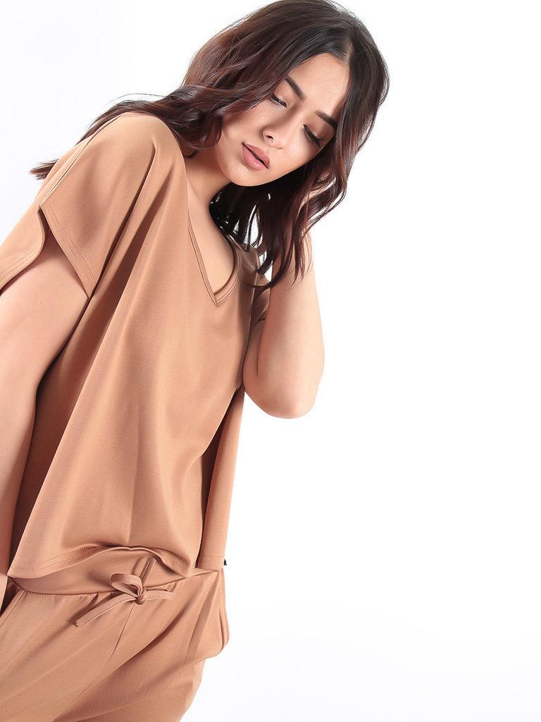 LADYLIKE FASHION Camel Short Sleeve Shirt