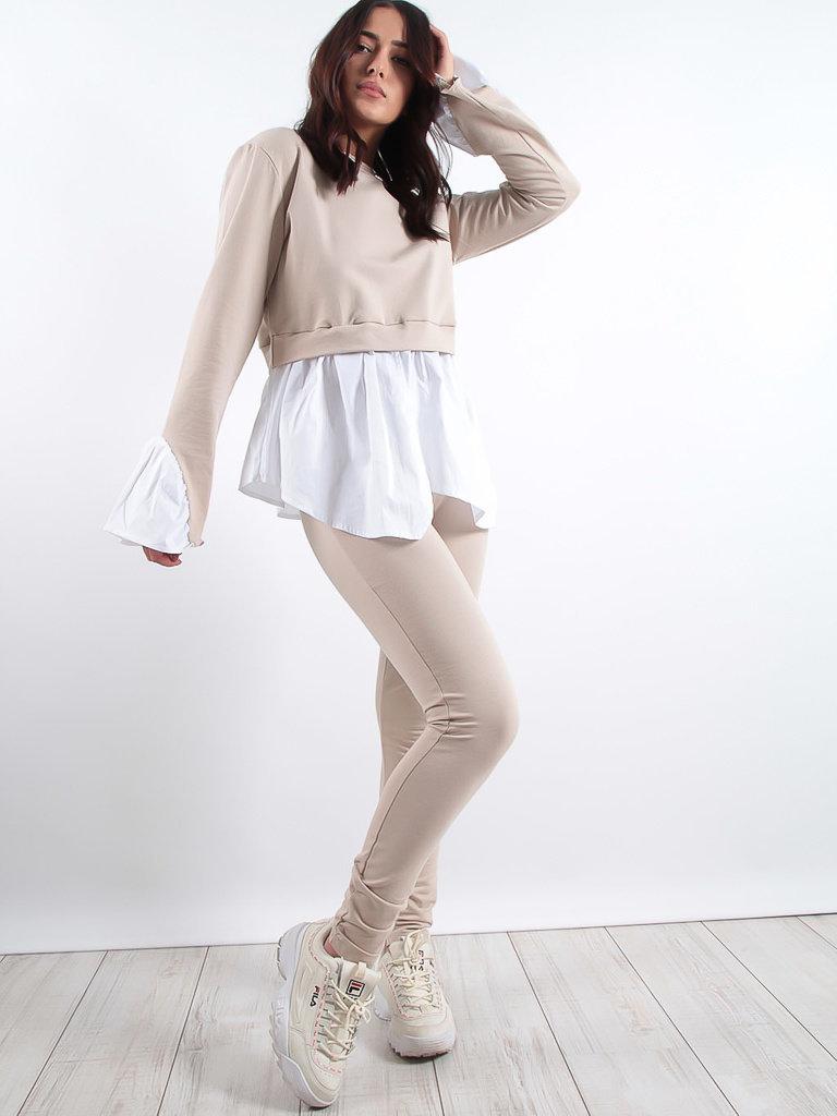 LADYLIKE FASHION Cotton Lounge Trousers Beige