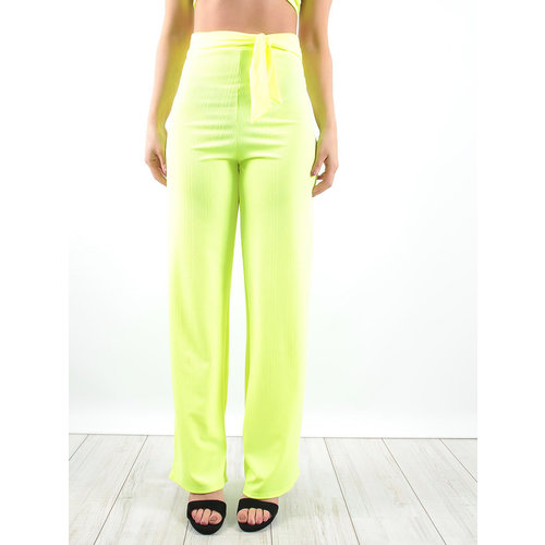 LADYLIKE FASHION Ribbed Trousers Neon Lime