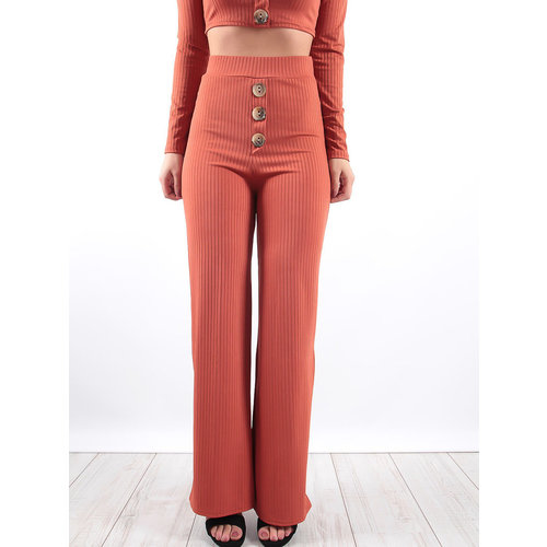 LADYLIKE FASHION Ribbed Trousers Rust