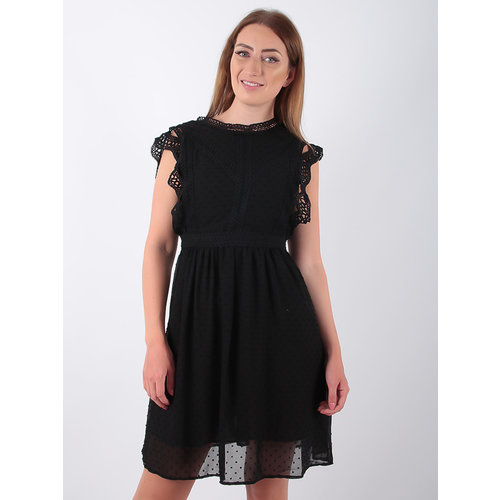 FLAMANT ROSE Lace Trim Skater Dress Black