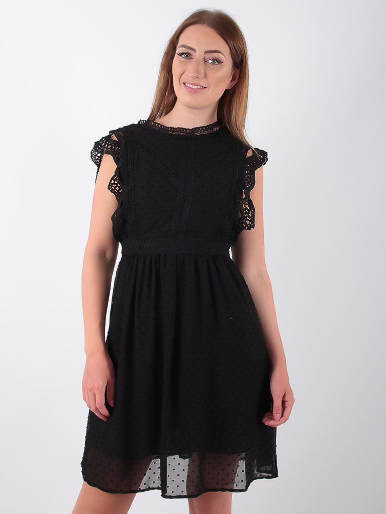 FLAMANT ROSE - LADYLIKE FASHION Lace Trim Skater Dress Black
