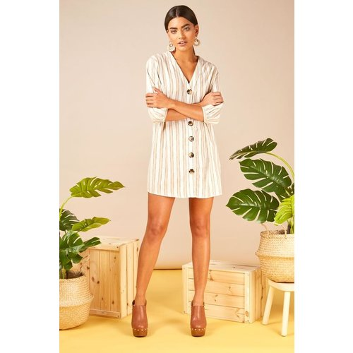 LADYLIKE FASHION Dart Detail Shirt Dress Beige